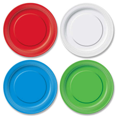 Red, green, blue and white disposable plates on white Stock Photo - 7780752