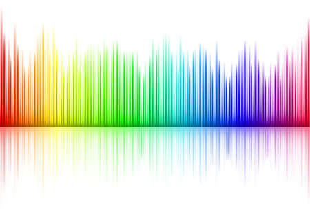 sound mixer: Colorful Sound waveform on white Vettoriali