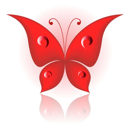 illustration of red icon simply butterfly  Vector