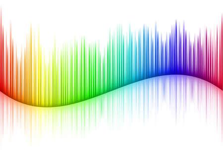 Forma d'onda del suono colorato su bianco