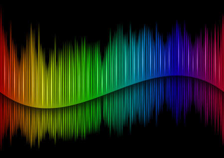 vibrations: Colorful Sound waveform  on black