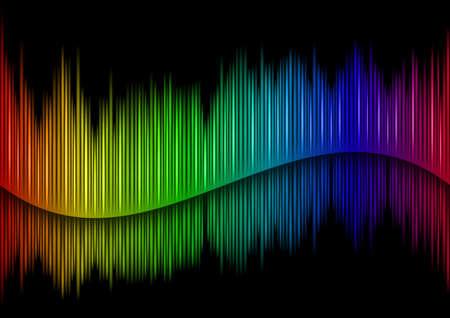 Colorful Sound waveform  on black