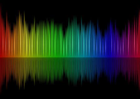 Colorful Sound waveform on black Stock Vector - 7883114