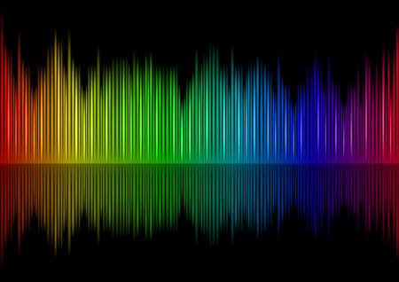audio mixer: Colorful Sound waveform on black