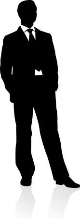 bodyguard: Business man in suit and tie silhouette. illustration