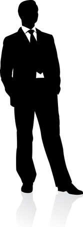 Hombre de negocios en traje y empatar la silueta. Ilustración