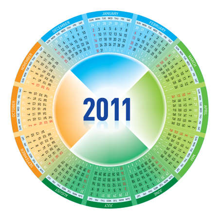 Colorful calendar for 2011. rotating design. Stock Vector - 7883109