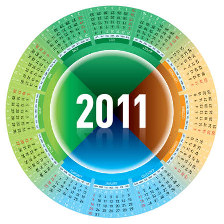 Colorful calendar for 2011. rotating design. Stock Vector - 7883106