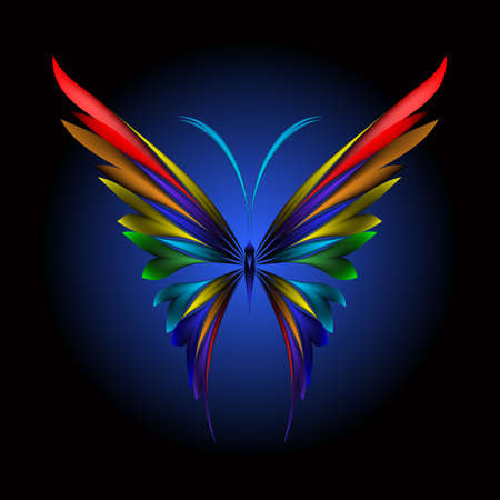 illustration of icon simply butterfly on black background Illustration