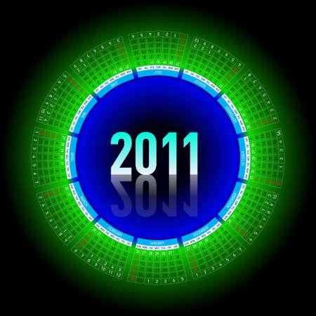 Neon colorful calendar for 2011. rotating design. Vector