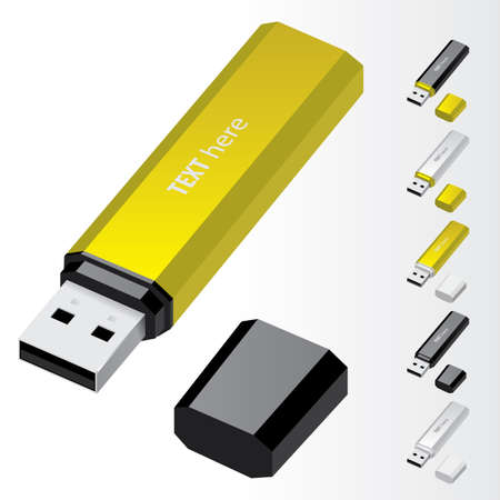 flash drive: Yellow USB Flash Drive   icons Illustration