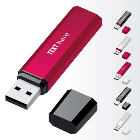 Crimson USB Flash Drive   icons Vector