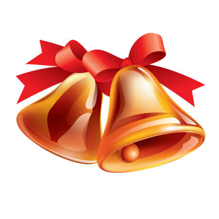 illustration of a Christmas Bell on white background Vector