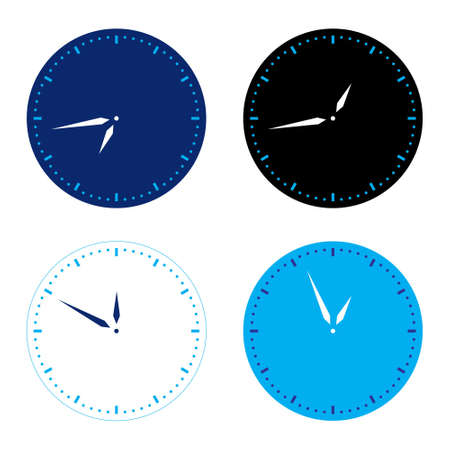 Different colors clock set.   illustration on white Stock Vector - 8032653