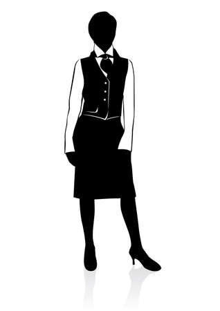young professional: Silueta de empresaria. Ilustraci�n sobre fondo blanco  Vectores