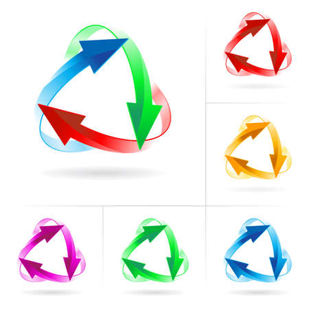 business continuity: Set #2 of different colored arrow circles isolated on the white Illustration