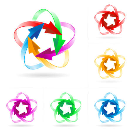 business continuity: Set #1 of different colored arrow circles isolated on the white
