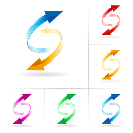 흐름: Set #3 of different colored arrow circles isolated on the white