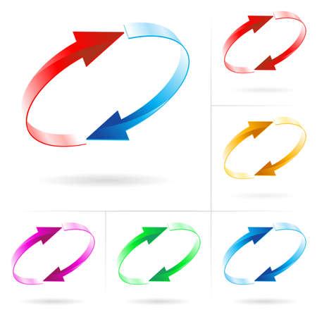 Ensemble # 4 de flèche couleur différents milieux isolé sur le blanc