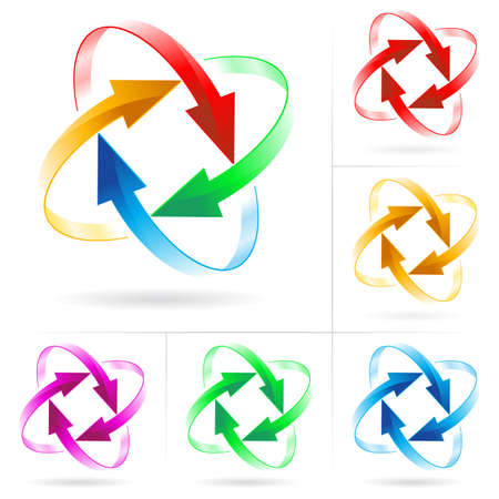 circulaire: Ensemble # 5 de fl�che couleur diff�rents milieux isol� sur le blanc  Illustration