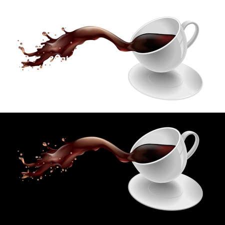 chicchi caff� su sfondo bianco: Illustrazione vettoriale di schizzi di una tazza di caff�