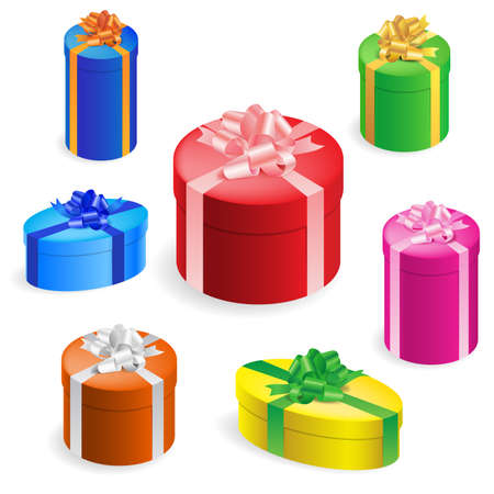 Vector illustration of 7 different round gift boxes with ribbon Stock Vector - 8211921