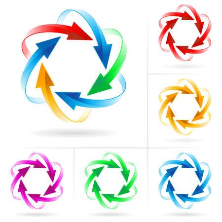 Conjunto # 6 de flecha color diferentes círculos aislado en el blanco Ilustración de vector