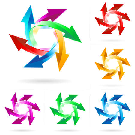 business continuity: Set #9 of different colored arrow circles isolated on the white Illustration