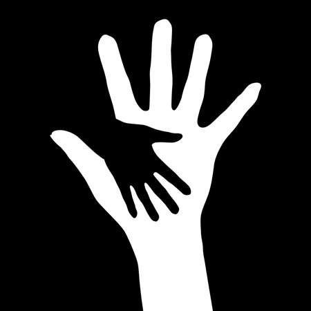 reach: Helping hands.   illustration on black background