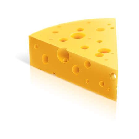 kaas:   illustratie van een stuk kaas. Geïsoleerd op witte achtergrond
