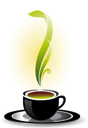 morning tea: Cup of coffee or tea.  illustration on white background. Illustration