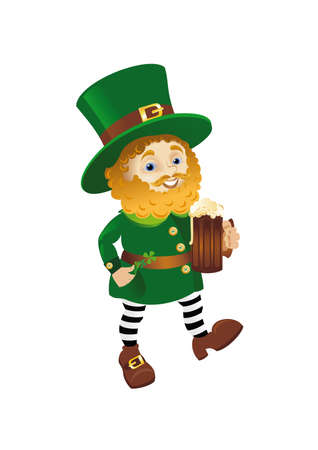 ale: Funny Leprechaun going with Ale Illustration