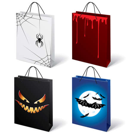 A set of four Halloween shopping bags  Vector