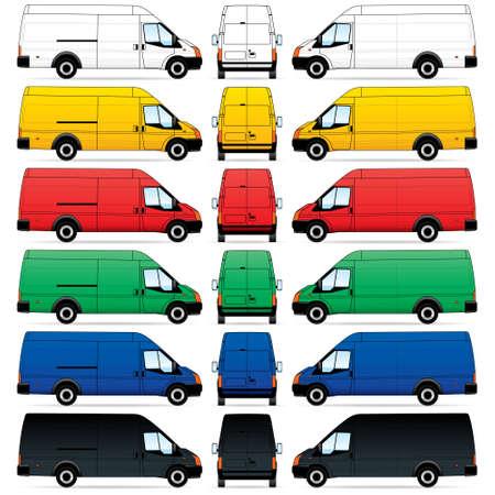 mode of transport: Aislados de entrega de Vans, sobre fondo blanco. Ilustraci�n