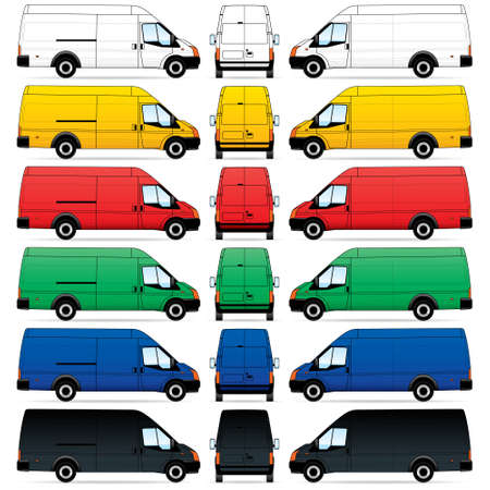 mini bus: Isolated Delivery Vans on white background.  illustration Illustration