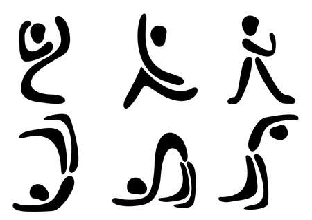 Abstract people poses. Black and white  icons. Illustration