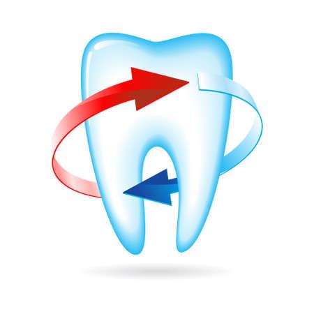 Los dientes con flechas. Ilustración en blanco