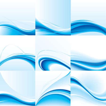 blue prints: Abstract   background set. Blue wave design. Illustration