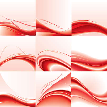 red line: Abstract   background set. Red wave design.