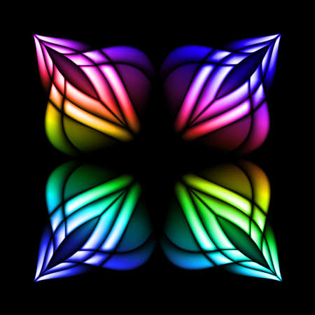 window seal: Abstract stain glass flower pattern. illustration #2