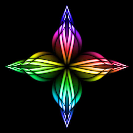 colored window: Abstract stain glass flower pattern.  illustration #4