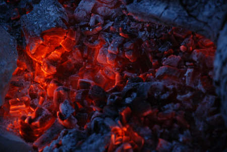 Fire coals after wooden camp fire. Stock Photo - 8251087