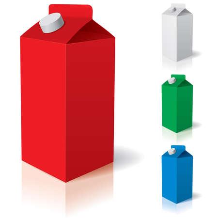 envase de leche: Limpiar cart�n tetra pack.  Ilustraci�n del cuadro o cajas de cart�n de leche. Vectores