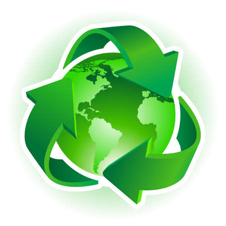 save earth: Recycle Symbol with Earth on white background. illustration.
