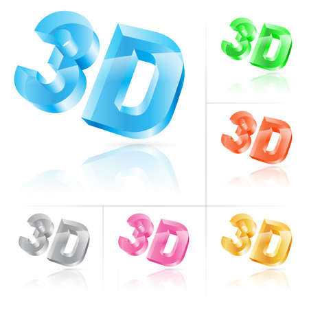 watching 3d: Set of symbol 3d. illustration on white background