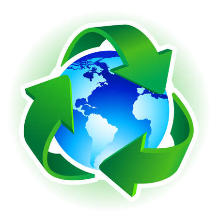 icono contaminacion: Reciclar el s�mbolo con la tierra azul sobre fondo blanco. ilustraci�n.