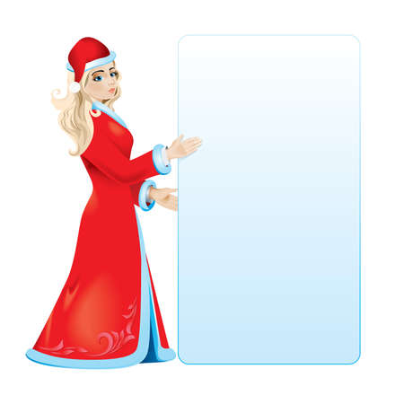 maiden: Snow maiden with white blank.  illustration on white background Illustration