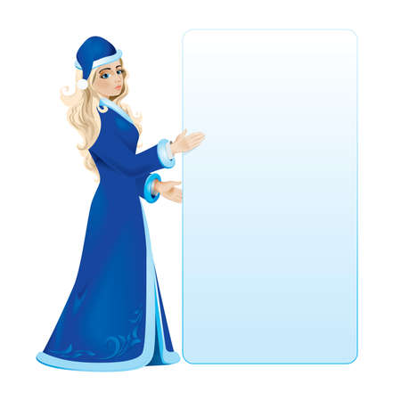 kısrak: Snow maiden with white blank in a blue coat.illustration on white background
