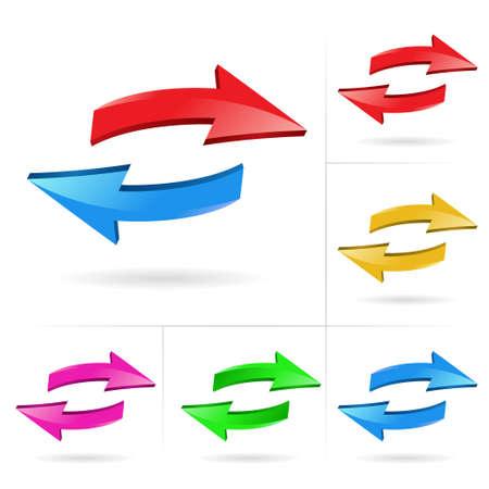 curvas: Conjunto de elementos de dise�o incompletos de color de flecha 3D