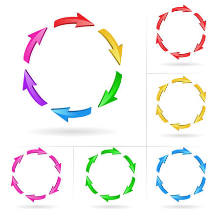 cool down: Conjunto de elementos de dise�o incompletos de color de flecha 3D